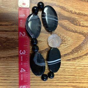 Jewelry - Handmade black stone bracelet w/white rose stretch